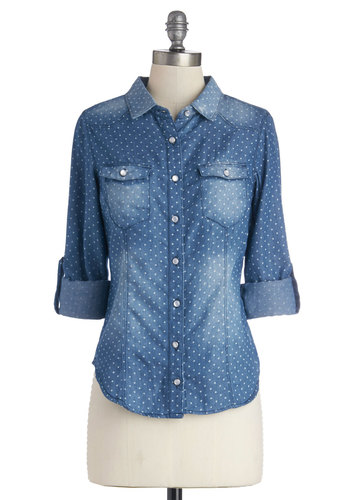 Whidbey Island Top in Stars - Blue, Tab Sleeve, Blue, Print, Buttons, Pockets, Casual, Long Sleeve, Good, Collared, Cotton, Woven, Mid-length, White, Social Placements, Novelty Print