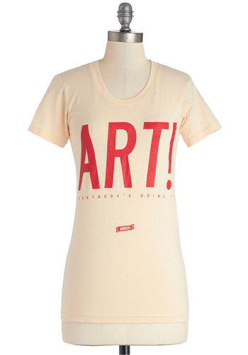 Popular Pastime Tee by MNKR - White, Short Sleeve, Cotton, Knit, Mid-length, Cream, Red, Novelty Print, Casual, Sayings, Short Sleeves, Scoop