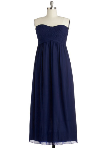 Gliding through the Garden Dress in Navy - Plus Size - Chiffon, Woven, Wedding, Bridesmaid, Blue, Solid, Ruching, Special Occasion, Prom, Maxi, Strapless, Best, Sweetheart