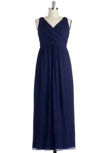 Grand Guest Dress in Navy - Plus Size - Chiffon, Woven, Blue, Solid, Ruching, Special Occasion, Prom, Wedding, Bridesmaid, Maxi, Tank top (2 thick straps), Best, V Neck, Variation