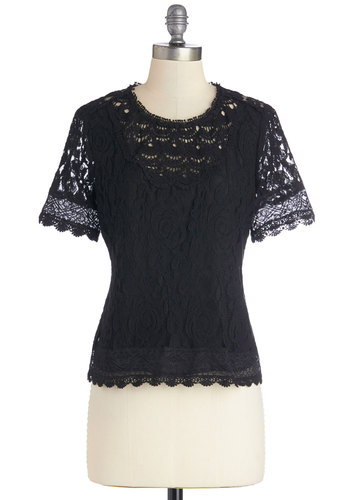 Graceful of Surprises Top - Better, Black, Short Sleeve, Sheer, Mid-length, Woven, Lace, Black, Solid, Buttons, Lace, Boho, Festival, Short Sleeves