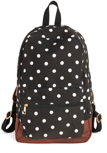 Festival Season Backpack - Black, White, Polka Dots, Casual, Good, Scholastic/Collegiate, Black, Brown, Travel, Festival, Graduation, Summer