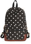 Festival Season Backpack - Black, White, Polka Dots, Casual, Good, Scholastic/Collegiate, Black, Brown, Travel, Festival