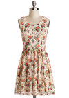 Artful Arrangement Dress - Multi, Floral, Lace, Daytime Party, A-line, Sleeveless, Good, Scoop, Knit, Mid-length