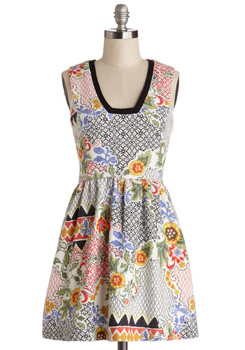 Transfix and Match Dress - Multi, Print, Trim, Casual, A-line, Sleeveless, Better, Cotton, Woven, Short