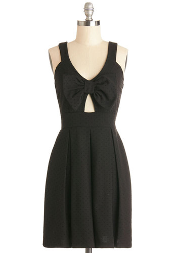 Style Me Snazzy Dress - Black, Polka Dots, Bows, Cutout, Pleats, Party, LBD, A-line, Good, Solid, Sleeveless, Girls Night Out, Mid-length