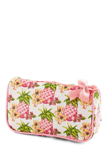 Get a Fresh Start Makeup Bag - Cotton, Woven, Pink, Fruits, Good, Multi, Novelty Print, Travel, Summer