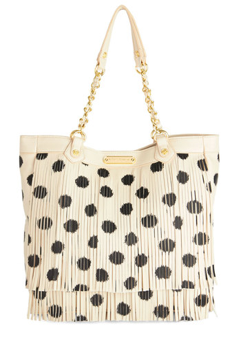 Betsey Johnson Fashion Showstopper Bag by Betsey Johnson - Cream, Black, Polka Dots, Fringed, Best, Travel, Statement, Boho