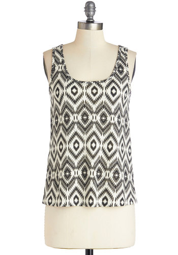 Spirit of Adventure Top - Black/White, Sleeveless, Mid-length, Knit, Black, White, Print, Casual, Tank top (2 thick straps), Scoop
