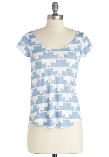 Lithography Class Top in Blue Geo - Blue, Short Sleeve, Mid-length, Knit, Blue, White, Print, Cutout, Casual, Short Sleeves, Scoop, Pastel, Spring, Summer, Good