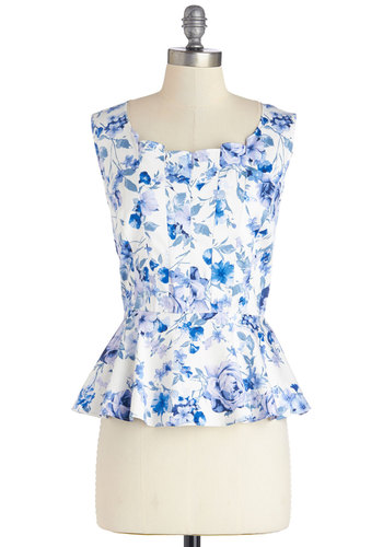 Watercolor Your World Top - Cotton, Woven, Mid-length, Blue, Sleeveless, Blue, White, Floral, Pleats, Work, Daytime Party, Peplum, Sleeveless, Scoop
