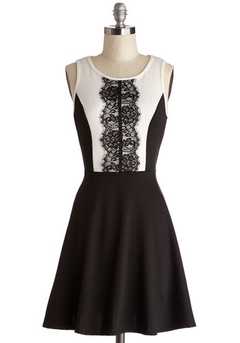 Company Cocktails Dress - Knit, Mid-length, Black, White, Lace, Party, A-line, Tank top (2 thick straps), Good, Scoop, WPI