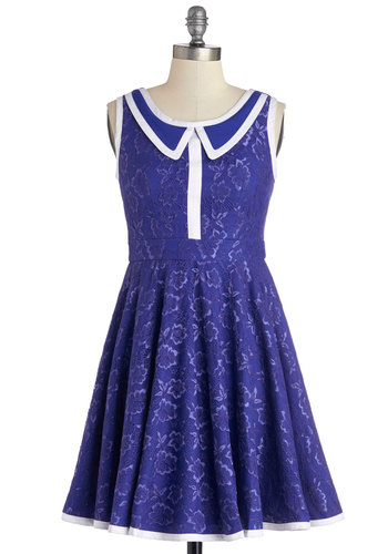 500 Days of Shimmer Dress in Cobalt - Woven, Mixed Media, Lace, Mid-length, Blue, White, Trim, Party, A-line, Sleeveless, Better, Variation