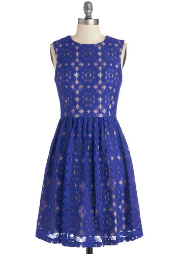 Outdoor Arpeggios Dress in Royal Blue - Knit, Lace, Mid-length, Blue, Lace, Party, A-line, Sleeveless, Better, Scoop, Variation, Graduation