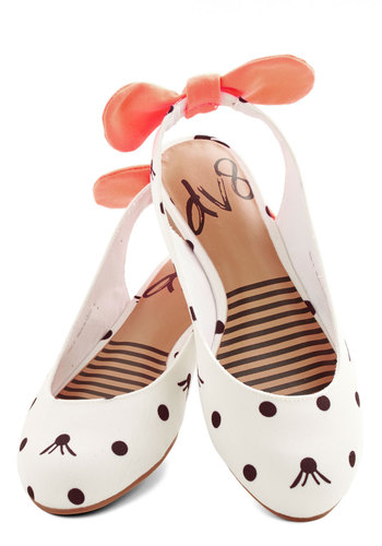Prance Partner Flat in Dots by Dolce Vita - Flat, Woven, White, Black, Coral, Polka Dots, Bows, Darling, Slingback, Neon, Quirky, Variation, Top Rated