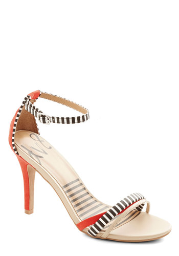 Bistro So Chic Heel by Dolce Vita - Mid, Faux Leather, Black, White, Stripes, Party, Ankle, Multi, Red