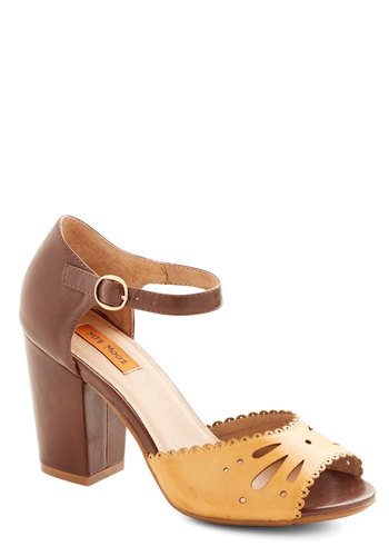 Lovely Lunch Date Heel in Honey by Miz Mooz - Yellow, Solid, Cutout, Wedding, Daytime Party, Chunky heel, Mid, Leather, Brown, Vintage Inspired, 40s, Variation