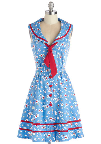 Ladies Who Brunch Dress - Blue, Red, Floral, Buttons, Trim, Tie Neck, Casual, Nautical, A-line, Sleeveless, Better, Collared, Woven, Mid-length, Vintage Inspired, 50s, Summer