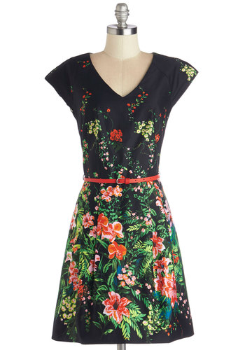 Chrysanthemums the Word Dress - Multi, Floral, A-line, Cap Sleeves, Better, V Neck, Cotton, Woven, Mid-length, Exposed zipper, Belted, Daytime Party