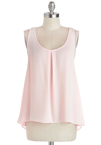 I'm in Lovely Top - Good, Pink, Sleeveless, Chiffon, Sheer, Woven, Mid-length, Pink, Solid, Bows, Pastel, Tank top (2 thick straps), Scoop, Spring