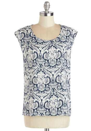 Spring Bake Forever Top - Woven, Mid-length, White, Print, Good, Blue, Short Sleeve, Blue, Casual, Cap Sleeves, Scoop, Spring