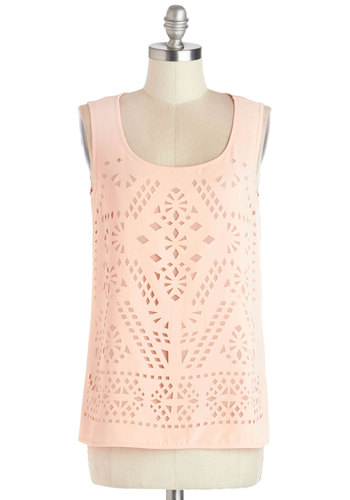 Peach Gallete Top - Better, Pink, Sleeveless, Chiffon, Sheer, Woven, Mid-length, Pink, Solid, Cutout, Daytime Party, Sleeveless, Scoop, Pastel, Spring, Summer, Top Rated
