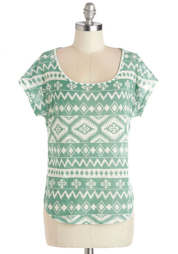 I Can Dig It Top - Green, Short Sleeve, Sheer, Knit, Mid-length, Green, White, Print, Casual, Short Sleeves, Scoop