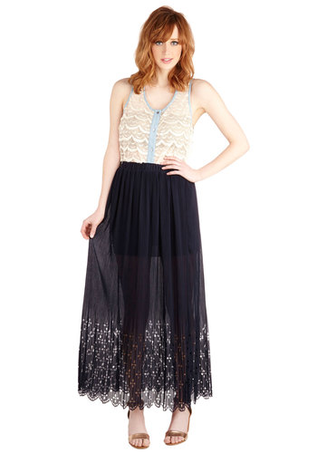 Free-Spirited Flair Skirt - Maxi, Blue, Better, Long, Sheer, Blue, Solid, Cutout, Pleats, Casual, Daytime Party, Boho, Festival