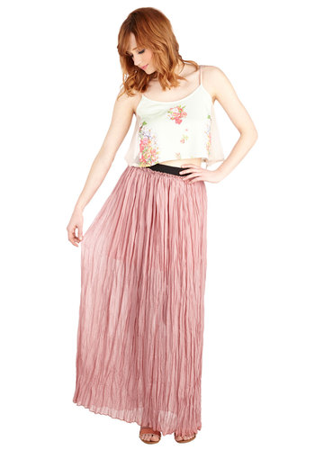 Reverie Little Thing Skirt - Maxi, Pink, Good, Long, Woven, Pink, Solid, Boho, Festival