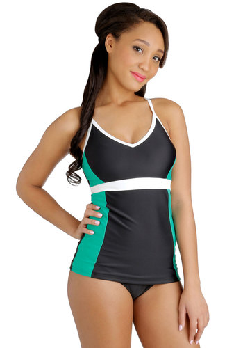 Canoe Come Too? Swimsuit Top - Knit, Multi, Green, Black, White, Solid, Beach/Resort, Colorblocking, Summer, Tankini