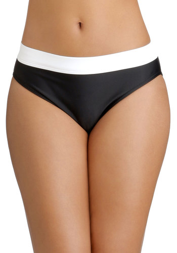 Canoe Come Too? Swimsuit Bottom - Knit, Black, White, Beach/Resort, Colorblocking, Summer, Tankini