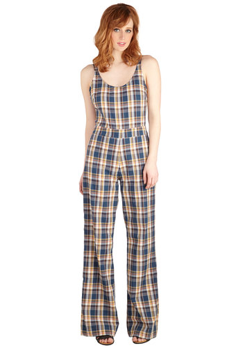 Julie, Madly, Deeply Jumpsuit - Cotton, Long, Woven, Blue, Plaid, Casual, Vintage Inspired, 60s, 70s, Wide Leg, Sleeveless, Spring, Best, Scoop, Full length, Blue, Sleeveless, Non-Denim, Jumpsuit, Daytime Party, Beach/Resort
