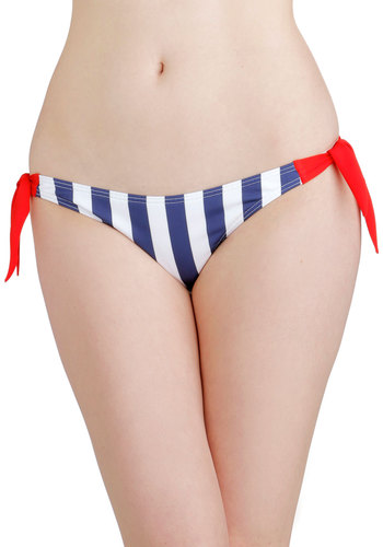 Down by the Bay Swimsuit Bottom - Knit, Multi, Red, Blue, White, Stripes, Beach/Resort, Nautical, Summer