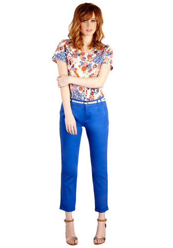 New Slack Swing Pants in Cobalt - Cropped, Good, Low-Rise, Blue, Non-Denim, Cotton, Woven, Blue, Solid, Pockets, Belted, Work, Daytime Party, Variation, Spring, Summer