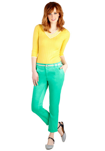 New Slack Swing Pants in Jade - Cropped, Good, Low-Rise, Green, Non-Denim, Cotton, Woven, Green, Solid, Pockets, Belted, Casual, Variation