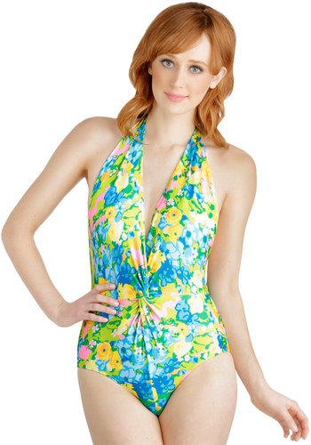 Bold at the Beach One-Piece Swimsuit by Beach Riot - Knit, Multi, Print, Ruching, Beach/Resort, Summer