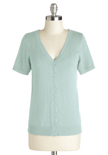 Layer Your Look Cardigan in Mint - Mid-length, Knit, Mint, Solid, Buttons, Pastel, Short Sleeves, Spring, Exclusives, Variation, V Neck, Blue, Short Sleeve