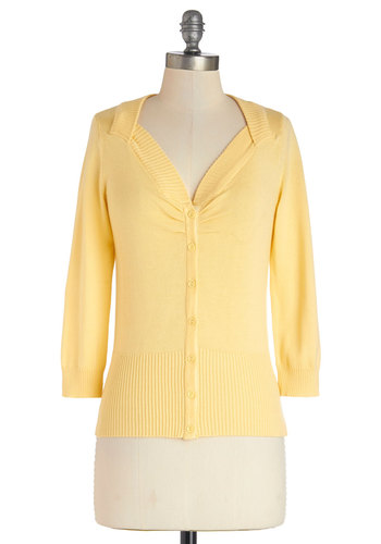 Meringue My Day Cardigan in Lemon by Bea & Dot - Mid-length, Knit, Yellow, Solid, Casual, 3/4 Sleeve, Spring, Exclusives, Private Label, Yellow, 3/4 Sleeve, Variation, Buttons, Pastel, Top Rated