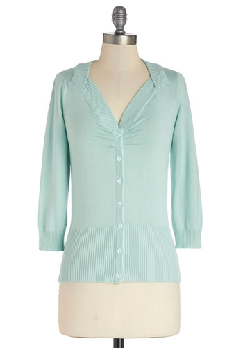 Meringue My Day Cardigan in Mint by Bea & Dot - Mid-length, Knit, Mint, Solid, Buttons, Pastel, 3/4 Sleeve, Spring, Exclusives, Variation, Private Label, Green, 3/4 Sleeve, Press Placement, Top Rated