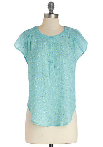Bitty Bouquets Top - Short Sleeve, Woven, Floral, Spring, Good, Blue, Blue, Buttons, Cap Sleeves, Mid-length