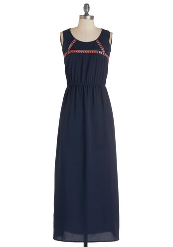 Songwriting Duo Dress - Long, Woven, Blue, Orange, Embroidery, Casual, Maxi, Sleeveless, Better, Scoop, Festival