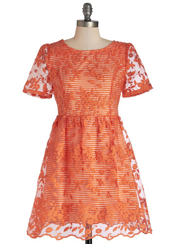 A Stitch in Clementine Dress - Orange, White, Lace, Daytime Party, A-line, Short Sleeves, Better, Scoop, Short, Sheer, Woven, Lace, Embroidery, Party