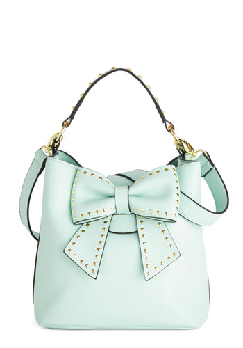 Betsey Johnson Outfit of the Daring Bag in Mint by Betsey Johnson - Mint, Gold, Solid, Bows, Studs, Work, Best, Green, Faux Leather, Daytime Party, Variation, Statement, Spring, Pastel