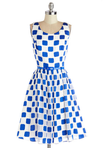 Squaring is Caring Dress - Blue, White, Belted, A-line, Tank top (2 thick straps), Better, Scoop, Daytime Party, Mid-length, Chiffon, Woven, Print