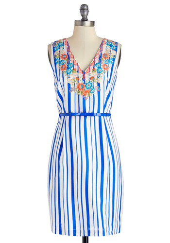 Hosting for Dinner Dress - Blue, Stripes, Floral, Belted, Daytime Party, Shift, Sleeveless, Better, V Neck, Multi, White, Woven, Mid-length, Spring