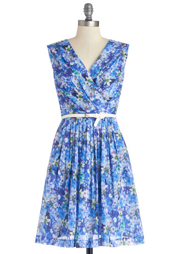 Kiss and Trellis Dress in Moonlit Garden - Blue, Multi, Floral, Pleats, Pockets, Belted, Daytime Party, A-line, Sleeveless, Spring, V Neck, Graduation, Woven, Long