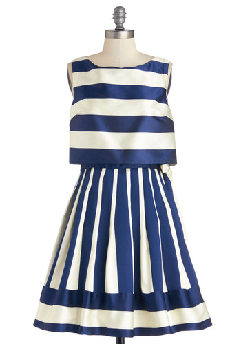 Yacht It All Dress - Nautical, Blue, White, Stripes, Special Occasion, A-line, Sleeveless, Better, Scoop, Party, Mid-length, Satin, Woven, Americana, Daytime Party