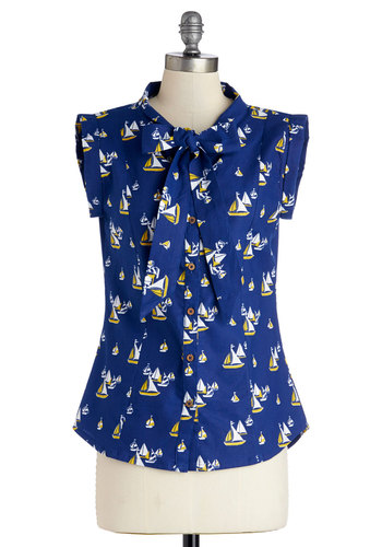 Carry On With Confidence Top in Sailboats by Mata Traders - Work, Blue, Novelty Print, Tie Neck, Nautical, Short Sleeves, Spring, Blue, Short Sleeve, Yellow, White, Cotton, Eco-Friendly, Mid-length, Woven