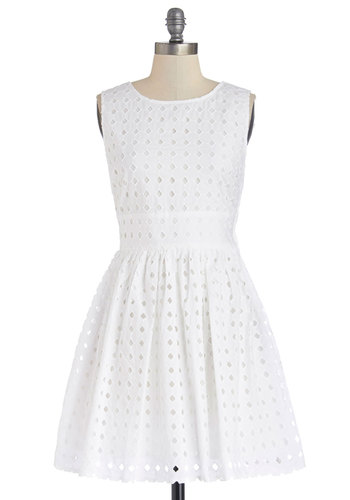 Meaningful Morning Dress by Jack by BB Dakota - White, Solid, Eyelet, Graduation, A-line, Sleeveless, Better, Daytime Party, Cotton, Woven, Mid-length, Americana, Sundress, Summer, Show On Featured Sale