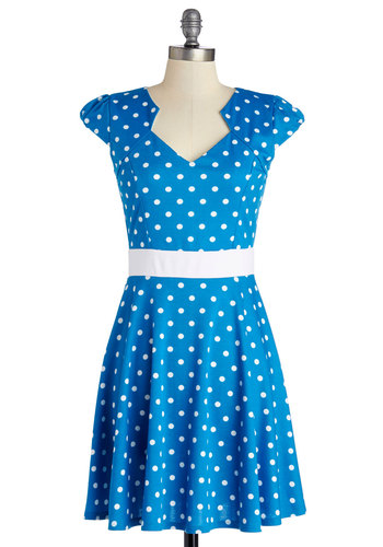 The Story of Citrus Dress in Aqua - Blue, White, Polka Dots, Casual, A-line, Cap Sleeves, Good, Knit, Mid-length, Spring, Top Rated